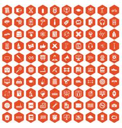 100 training icons hexagon orange vector