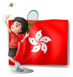 The flag of hongkong with a tennis player vector
