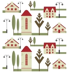Seamless pattern element of houses with red roofs vector