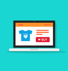 E-commerce shop online store on laptop computer vector