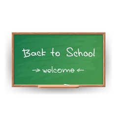 Back to school wrote in chalk on blackboard vector
