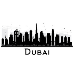 Dubai uae city skyline black and white silhouette vector