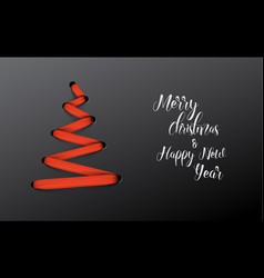 Christmas tree made from red lace vector