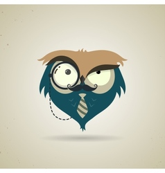 Cute little blue and grey cartoon hipster owl vector