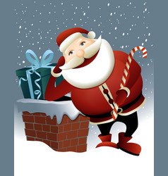 Santa claus and christmas chimney vector