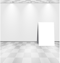White room with advertising stand vector