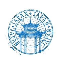Japan logo design template temple drawn in vector