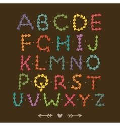 Cute hand drawn font with hearts vector image