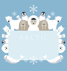 Arctic frame animals people vector