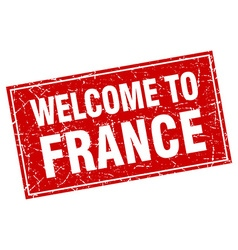 France red square grunge welcome to stamp vector image
