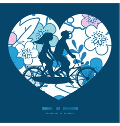 Blue and pink kimono blossoms couple on vector
