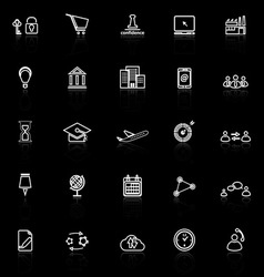 Business connection line icons with reflect on vector image vector image