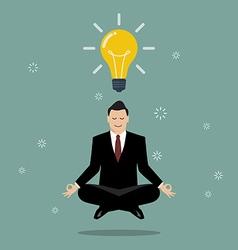 Businessman thinking during meditation vector