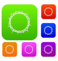 crown of thorns set color collection vector image