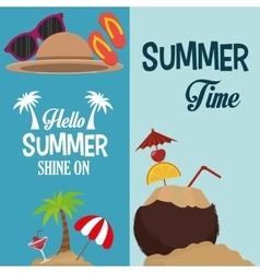 Flyers hello summer card shine one and coconut vector