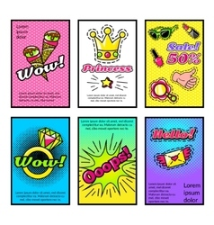 For girls comic style posters set vector
