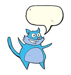 Funny cartoon cat with speech bubble vector