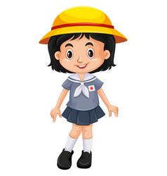 Japanese girl in school uniform vector