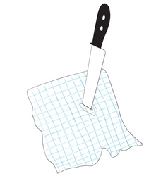 Knife stuck into a piece of paper vector