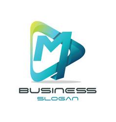 Letter m media logo vector