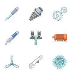 Machinery icons set cartoon style vector
