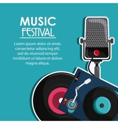 Microphone vinyl music sound media festival icon vector