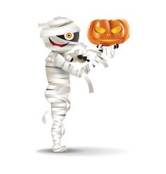 Mummy hold a pumpkin vector