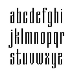 Narrow sans serif font based on old slavic vector