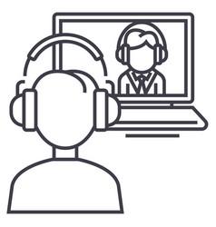 online interviewstudyschool line icon vector image vector image