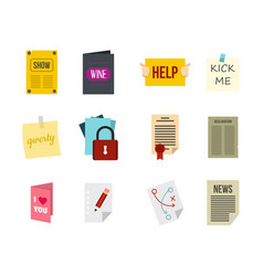 paper icon set flat style vector image