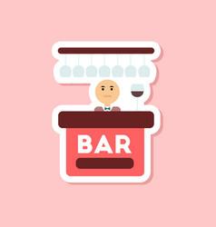 paper sticker on stylish background poker bar vector image vector image