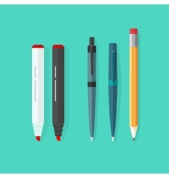 Pens pencil markers set isolated on green vector