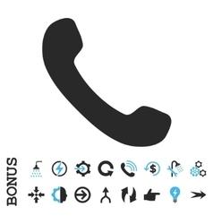 Phone receiver flat icon with bonus vector
