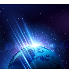 Planet earth in the bright rays of light vector image vector image