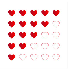 Rating with red hearts icon for your infographic vector