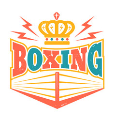 retro emblem with boxing ring vector image vector image
