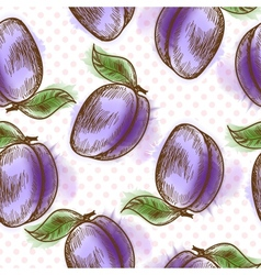 Seamless pattern with plum vector image vector image
