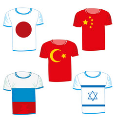 set from t-shirts with flag vector image