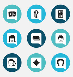 Set of 9 editable casino icons includes symbols vector