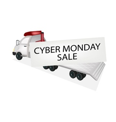 Tractor trailer flatbed loading cyber monday card vector