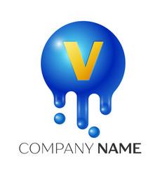 V letter splash logo blue dots and bubbles letter vector