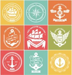 Vintage Retro Nautical Symbols and Icons vector image vector image
