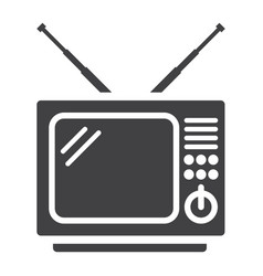 Vintage tv solid icon household and appliance vector