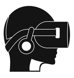 vr headset icon simple style vector image vector image