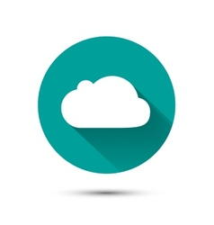 White cloud icon on green background with shadow vector image vector image