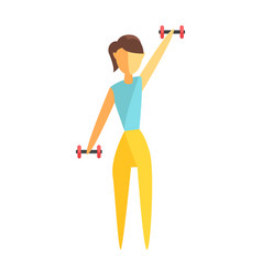 Young woman exercising with dumbbells colorful vector