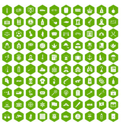 100 offence icons hexagon green vector image vector image