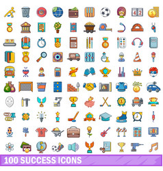 100 success icons set cartoon style vector image vector image