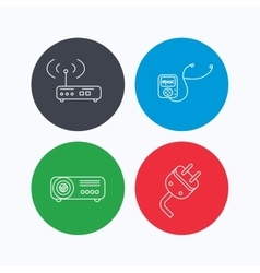 Electric plug wi-fi router and projector icons vector