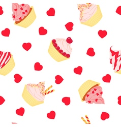 Cakes seamless pattern on white background vector image